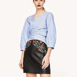 Zara Size M Faux Leather Mini Embroidered Skirt